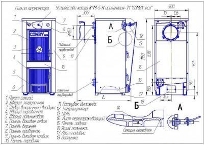 Схема твердотопливного котла КЧМ