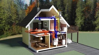 3D схема отопления частного дома