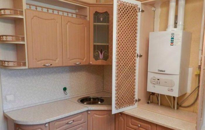 Вариант монтажа газового котла на кухне