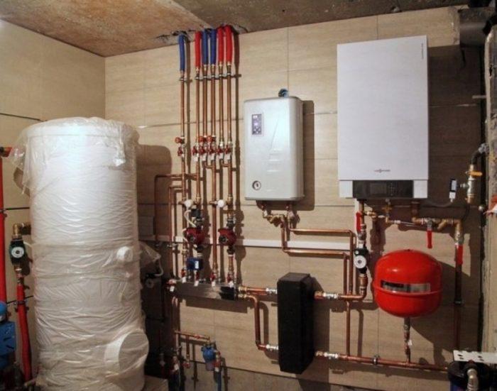 Смонтированная система отопления в доме