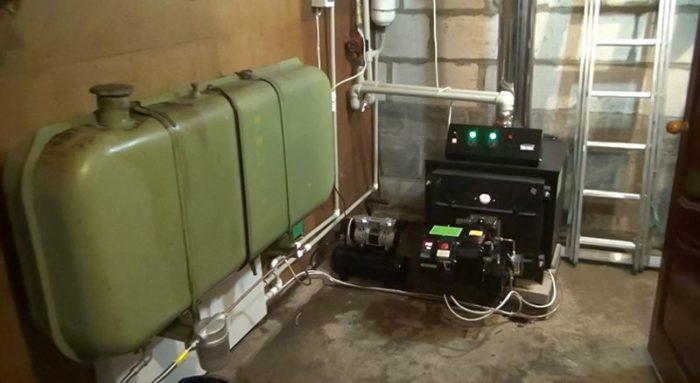 Пример работы котла на отработанном топливе