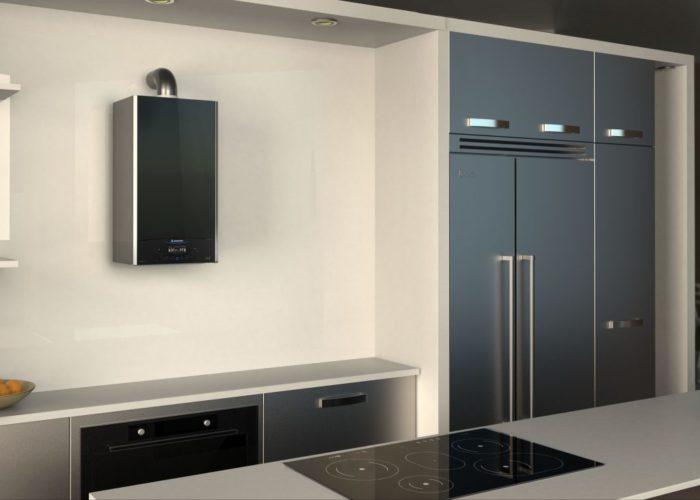 Настенный газовый котел в интерьере кухни