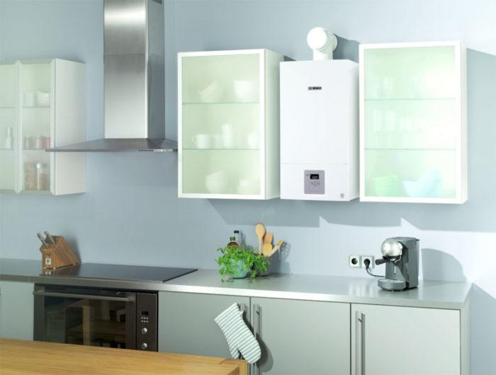 Оформление газового котла в интерьере кухни