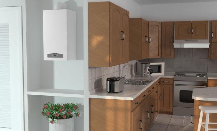 Установленный на кухне газовый котел